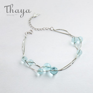 Thaya Русалка пены дизайн браслет S925 стерлингового серебра двойной цепи рыбий хвост цепи Кристалл браслеты для женщин элегантные ювелирные изделия