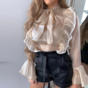 Women Sweet Bow Tied Cascading Ruffles Blouse Women Stand Collar Agaric Lace Smock Bell Sleeve Shirt Femininas Chic Blusas Tops