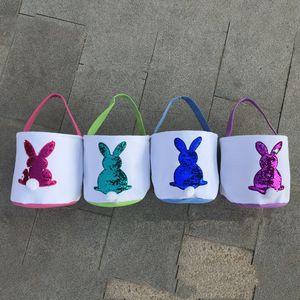 Блестки Easter Basket Холст Easter Ковш с кроликом Дизайнерские и хвост конфеты Tote сумки Детские сумки DIY Симпатичные Пасха подарков партии украшения