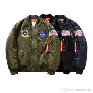 Nuevo vuelo de la NASA Piloto mens chaquetas de diseño Bombardero Ma1 rompevientos chaqueta de bombardero del béisbol del bordado sección militar chaqueta para hombre S-XXL