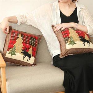새로운 크리스마스 베개 격자 무늬 장식 베개 케이스 크리스마스 트리 엘크 눈송이 패턴 아플리케 쿠션 커버 홈 축제 제품