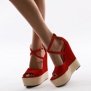 2020 الصنادل 15cm والكعب الأحمر منصة الصنادل أسافين حذاء على الموضة الصليب Strappy البوهيمي المرأة ساندليس كبيرة الحجم 35-42