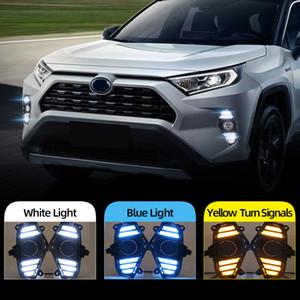 2PCS DRL для Toyota RAV4 2019 2020 LED дневного света Водонепроницаемый с потоком Желтый сигнал поворота бампер
