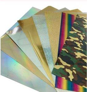 Бесплатная доставка 8 листов 25cmx25cm голограмма теплопередачи винил камуфляж Радуга металлический лазерный утюг на пленке HTV футболка