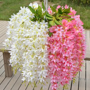 Decorations Artificial & Dried Flowers 5 head Bunch Fake Silk Wisteria Hanging Rattan Artificial Clove Home Decoration Wedding Party ...
