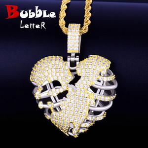 Золотой цвет сломанный скелет сердце кулон ожерелье с теннисной цепочкой AAA кубический Циркон мужские хип-хоп рок ювелирные изделия