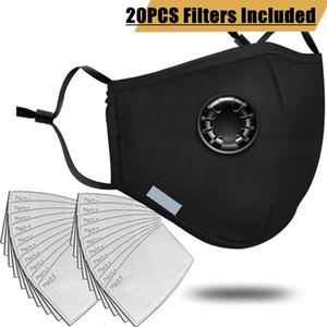 20шт фильтр мода Маска анти-загрязнение PM2. 5 рот респиратор моющиеся многоразовые респираторы хлопок унисекс рот муфель черный