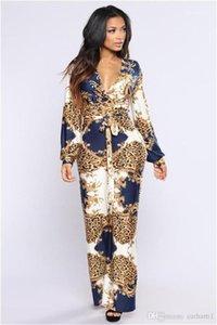 Jumpsuits Floeal Print Lapel Neck Long Sleeve Pants Summer Autumn Style Female Clothing Womens Fashion Desinger