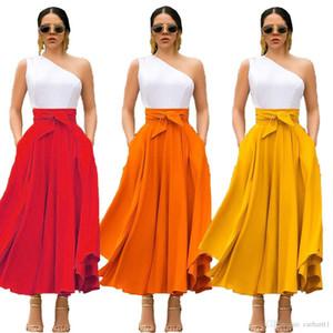 Tasarımcı Bow Kemer Etek Kadın Moda Asimetrik Uzun Etekler Elegant Womens Casual Etekler Dişiler Giyim Womens