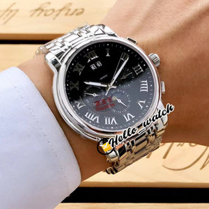 Nuovo Traditionnelle Patrimonio Big Date Automatic Mens Watch Quadrante Nero Bracciale romana Mark Moon Phase acciaio inossidabile Orologi Hello_Watch