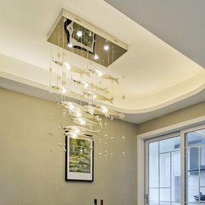 Bolhas de vidro moderno Peixe candelabro de cristal criativa Pendant Light estilo europeu de luxo LED Lamp Home Cafe Bar Deco aparelho de iluminação