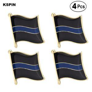 İnce Mavi Hat 2 Yaka Pin Badge Yaka Pin Bayrak rozeti Broş iğneler Rozetler 4PC