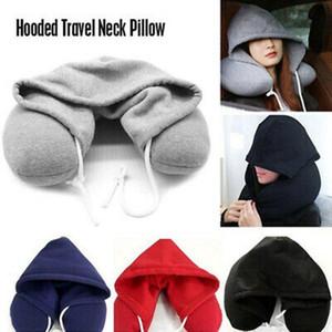 4 colori del collo cuscino del corpo solido Nap cotone particelle cuscino delicatamente con cappuccio U-cuscino Tessile casa Airplane Car Travel Pillow AN2946