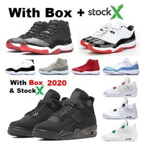2020 4s Corte púrpura 4 11s bajo UNC Bred 11 11 Concord blanco bajo criados zapatos de baloncesto de los hombres con la caja Snerkers Space Jam