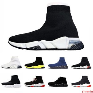 2020 Graffiti Clear sole Lace-up Designer casual sock Shoes Speed Trainer Paris Black Red Triple Black Fashion Socks Outdoor sports Sneaker