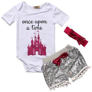 Bebé niña INS letras mamelucos traje Niños Mamelucos triángulo de manga corta + paillette shorts + bowknot Hair band 3pcs establece ropa