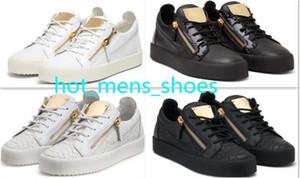 Горячая Новая мода Металл молния Flats Обувь Мужчины Женщины металла Железные листы из натуральной кожи Кроссовки Размер 35-47