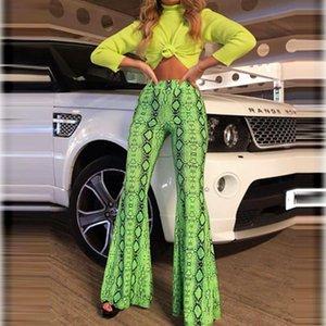 Focal20 Streetwear Snake Print Flare Pants Fashion Summer Women High Waist Stretch Long Pants Sexy Wide Leg Trousers
