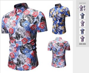 New Men's Fashionable Recreational Short-sleeved Flower Shirts for European and American Overseas Trade in Summer of 2019