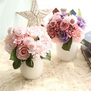 Fontes 30CM Rose Dahlia Bouquet Flor Artificial Falso Casamento Casa Decorações Home Garden festiva do partido da flor