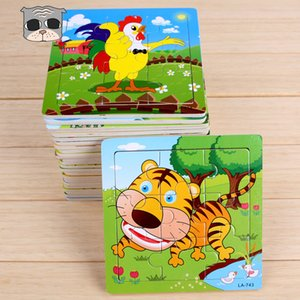 Multistyle Kids Wooden Puzzles 15x15cm cute Animals Vehicles patterns 9pcs puzzles Infants colorful Wood jigsaw intelligence toys for 2-6T