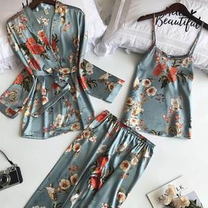 Women's Robe Autumn Printed Long Sleeve Simulated Silk Leisure Wear Thin Sexy Three-piece Suit Coat+Vest+Pants Pajama Set Femme