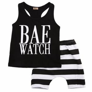 Kleinkinder Baby Junge Kinder Tops + Shorts Vest Ärmel gestreifte Kleidung Outfit 1-6 Jahre Sommer
