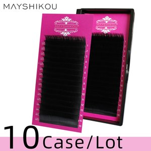10Case False Eyelashes 16 Rows Tray Natural Long Individual Eyelash Extension Russian volume Faux Mink lashes Thickl Style Synthetic Hair