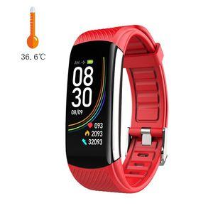 New Style relógio inteligente Academia Banda Reloj Inteligente pulso Termômetro C6T temperatura corporal sensor inteligente Pulseira Facebook Hot relógios venda