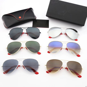 occhiali da sole in vetro con montatura in metallo occhiali da sole moda retrò Gradiente tè Gradiente grigio UV400 lenti in vetro occhiali da sole più custodie in pelle originali