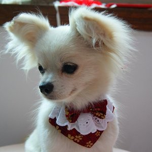 Japanese Style Handmade Dog Lace Bow Bib with Cute Bow Tie Pet Dog Scarf for Puppies Medium Dogs Pet Accessories
