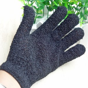 Color Black Peeling Glove Scrubber Five Fingers Exfoliating Tan Removal Bath Mitts Paddy Soft Fiber Massage Bath Glove Cleaner DHL Free