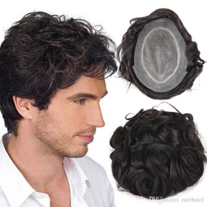 peruca pedaço de cabelo superior Stock Cabelo humano Wigs Homens dos homens para com NPU mais duradouro Toupee peruana Remy Cabelo Confortável Mens peruca TS-1