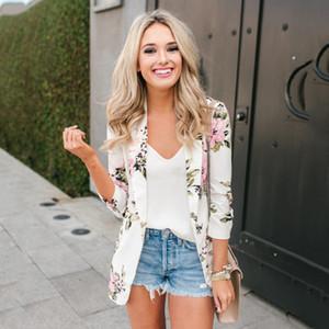 E-BAIHUI Femmes Fleur Imprimé À Manches Longues Blazer Manteau Style Décontracté Mince De Mode Blanc Bureau Dames Vêtements Automne Femme Blazer L097