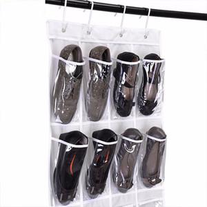 24 Pockets Zapatos sostenedores del almacenaje detrás de la puerta que cuelga los zapatos bolso no tejido de almacenamiento en rack con los ganchos plegables Zapatos del organizador del bolso DBC DH0963