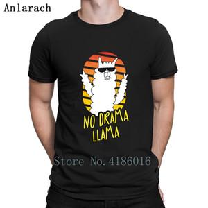 Hiçbir Dram Lama Komik Alpaka Lover Tişörtlü Sevimli Standart Yay Klasik Erkekler Tişörtlü O-Boyun Baskılı Yenilik Katı Renk