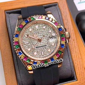 New YM 116695-SATS Gypsophila Dial Automatic Mens Watch Rose Gold Case Candy Color Diamond Bezel Black Rubber Strap Watches Hello_Watch E270