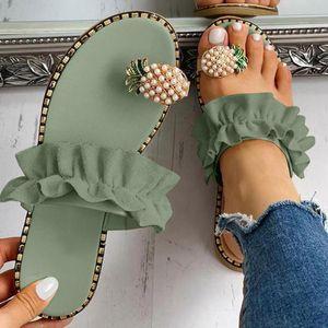 Женщины девушки Жемчужина плоские тапочки Богемный стиль повседневные тапочки пляжная обувь для женщин Кристалл Bling женская летняя обувь 2020