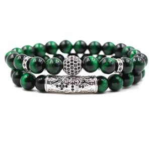 201908 Natural 8mm Green Tiger Eye Stone Beads Pulsera Joyería de moda Hombres y mujeres Energy Power Healing Stone Bead Parejas Pulsera M478A