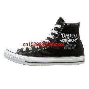 Erkek Womens için yüksek üst Tuval Ayakkabı Sneaker Baba Tişört Köpekbalığı Doo Doo Doo Casual Yürüyüş Ayakkabı