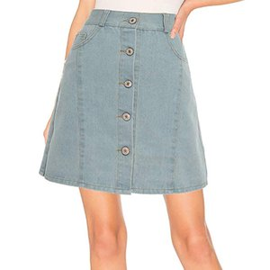 Estate matita casuale gonna Hight Vita Gonna Jeans Button Pocket Solid breve jupe femme mujer faldas Moda 2019
