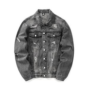 Giacca da uomo firmata Denim High Street Brand Giacche da uomo con lettere ricamate Lavare buchi d'acqua Giacca di jeans vecchio stile
