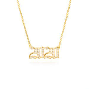 Birth Crystal CZ Zircon Year Necklace For Women Men Gold Color Copper Year Number Pendant Necklaces 2020 Fashion Jewelry Gift