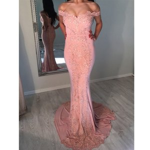 Modest Off The Shoulder Mermaid Bridesmaid Dresses Lace Appliques Sequined Long Maid Of Honor Dress Sweep Train Wedding Party Gowns
