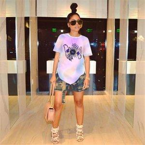 Baskılı Mürettebat Yaka Kısa Kollu Kadın Giyim Moda Stil Gündelik Giyim Bayan Yaz Desinger Tshirts Çiçek