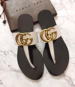 diapositives flip flops de luxe femmes tongs femmes en cuir sandale avec double métal blanc noir Brown Summer Beach Sandales ETUI G2