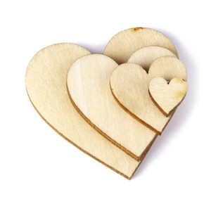 100Pcs Plain Wood Wooden Hearts Embellishment Blank Heart Wood Slices Discs for DIY Crafts Embellishments (Wood Color)