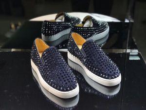 Navy Blue Suede Mode Chaussures Rouge Bas Hommes Epi Pik Chaussures bateau Mocassins Roller-Bateau Formateurs, luxe Italie Marque Red Sole Sneaker