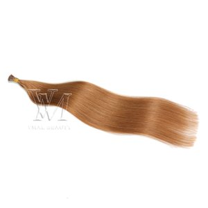 Wholesale #27 #60 Natural color European I tip Human 1g  strand 50g Single Drawn Pre-bonded Virgin Remy Human Straight Hair Extensions