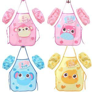 Cartoon Owl Aprons Kids Kitchen Play dustproof Aprons Pink Blue Girls Boys Apron + Sleeve Kitchen Set